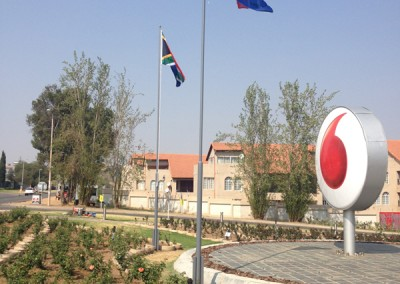 Manufacturing and Erection of Specialised Flag Poles at Vodaworld Main Entrance